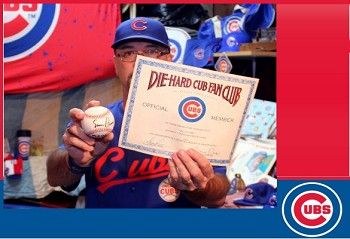 Bill Ward of Stanley with his Ernie Banks signed baseball and a Die-Hard Cubs Fan membership certificate.