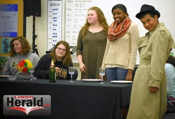 The cast list includes Johnny Crews, Charlie Robinette, Preston Smith, Brandon Tellez, Lydia Humphries, Ashley Logan, Rebecca Stover, Hannah Gilroy and Denisse Paula-Soto.(Lincoln Herald Staff Photos by Monique Cespedes)