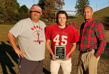 Canon Bridges (center) was named Player of the Week.  Seen here with Coach Tom Sain (left) and Demery Brewer of First Federal (right).(Photos Courtesy of Tim Johnson)