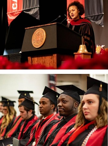 (Top) Veronica McComb, Ph.D., associate professor of history and director of the University Honors Academy, was the commencement speaker.