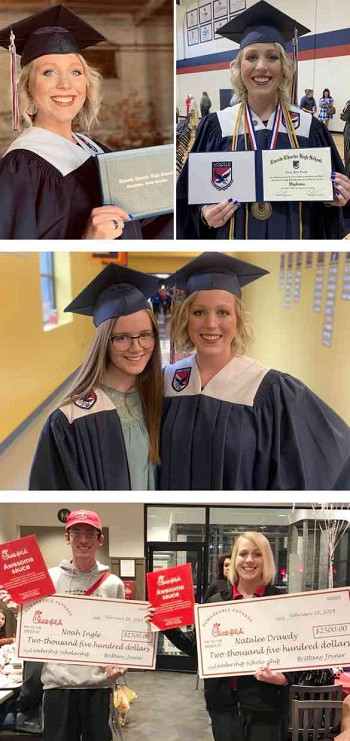 (Top) Natalee Drawdy displays her diploma in these two pictures.