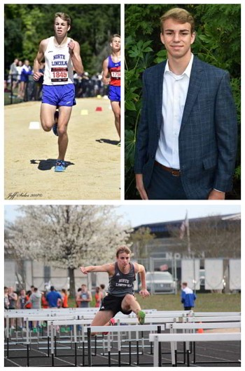 (Top, Left) Ryan Davin pours on the speed during a recent track-and-field event.(Photo Courtesy Jeff Sides)