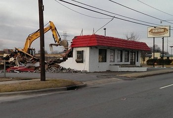 Photo of It's being demolished courtesy of Kevin Yount.